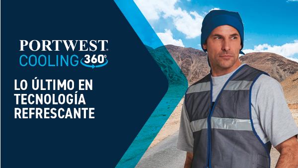 Torso de un hombre con un chaleco de enfriamiento y una gorra de enfriamiento frente a un panorama de montaña